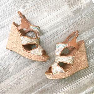 Lucky Brand Woven Wedge Cork Sandal